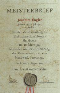 Meisterbrief Joachim Engler