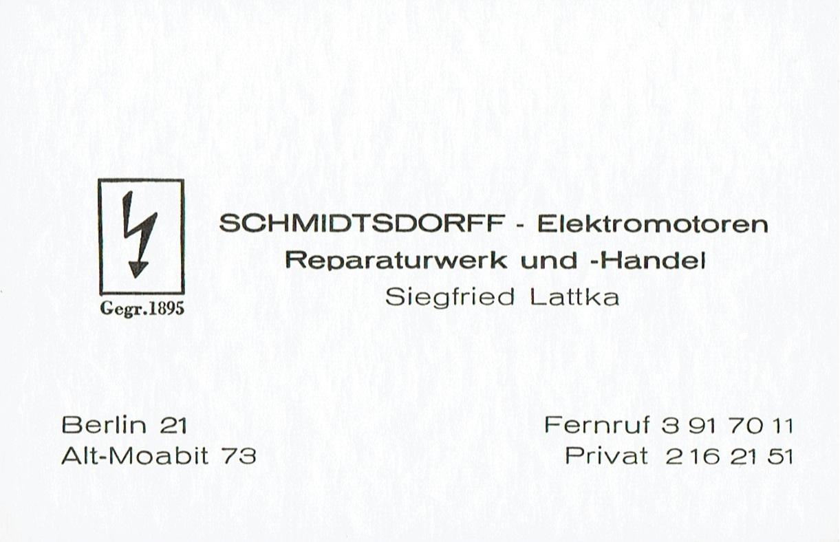 Visitenkarte Siegfried Lattka Schmidtsdorff Berlin