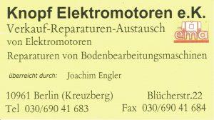 Visitenkarte Knopf Elektromotoren