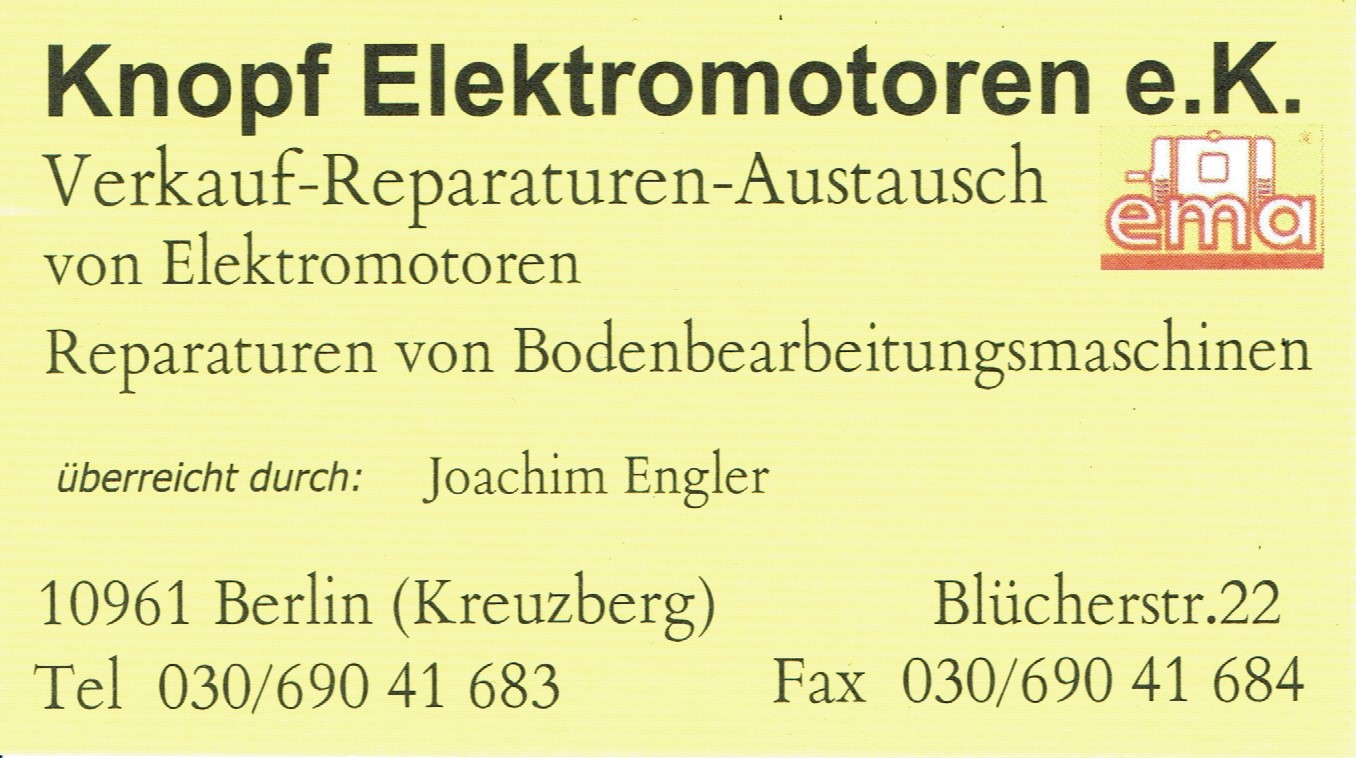 Visitenkarte Der Knopf Elektromotoren E K Heute